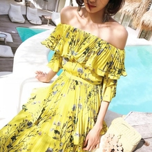 2018 Summer Long Self Portrait Dress Maxi Women Sexy Off the Shoulder Floral Printed Tiered Dresses