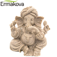 NEO Buddha Statue Vintage Thailand Fengshui Elephant Sculpture Natural Sandstone Crafts Ganesha Figurine Home Desk Decor