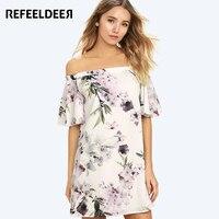 Refeeldeer Kawaii Off Shoulder Summer Dress Women 2017 Floral Print Butterfly Sleeve Shortest Dress Summer Sundress