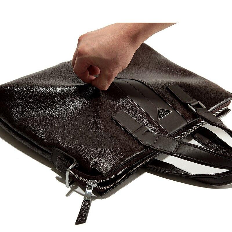 Bolsos de moda para hombre P. kuone vintage maletín de cuero genuino marrón bolsos de hombro de negocios maletín de alta calidad para ordenador portátil - 4
