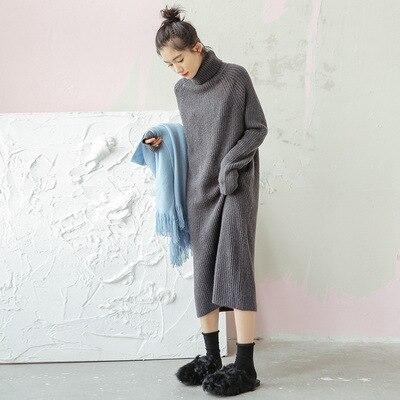 2018 Automne Gagnant Longue Robe Chandail Femmes Col Roulé Chaud Pulls Dames Solides Manches Longues Vente Top Vêtements Vêtements
