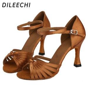 Image 4 - DILEECHI Salsa Womens Latin Dance รองเท้าบอลรูมเต้นรำรองเท้า Bronze 85 มม.ซาตินนุ่ม outsole
