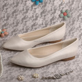 Wedopus Hot Selling Pointed Toe Flat Bridal Shoes Ivory Satin Women Shoes Dropshipping