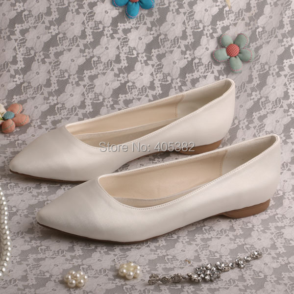 Wedopus Hot Selling Pointed Toe Flat Bridal Shoes Ivory Satin Women Shoes  Dropshipping 6c3853886f