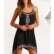 JSMY Women New Summer Irregular Loose Strap Print Dress