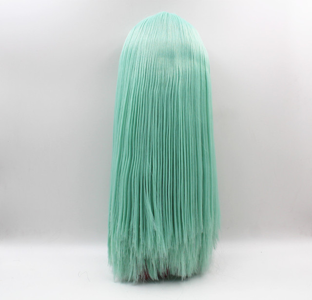 Blyth doll Light green straight bang hair deep black body nude doll body 7 joint body DIY doll can replace scalp new skin