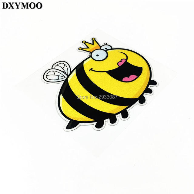 Pack of 2pcs reflective vinyl tape funny bee queen motorcycle helmet car sticker for vespa club