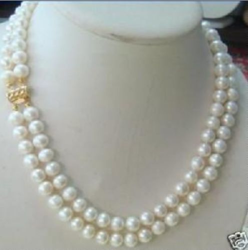 HOT SELL - Hot sale new Style >>>>>2 Rows 7-8MM DOUBLE STRAND WHITE Natural PEARL NECKLACE -Top quality free shipping