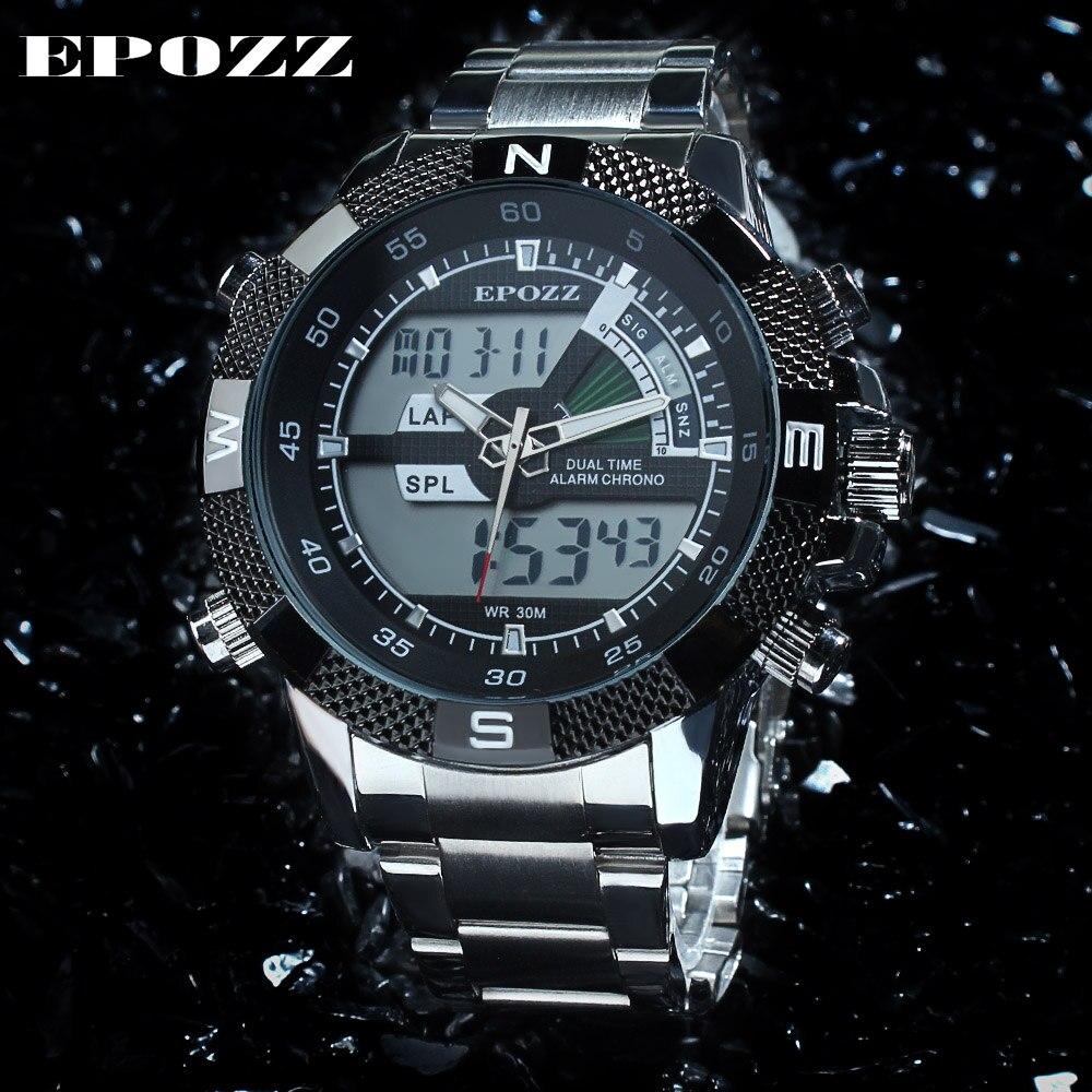 EPOZZ Brand new quartz watch for men casual sport army digital watches fashion stainless steel waterproof clock 1104
