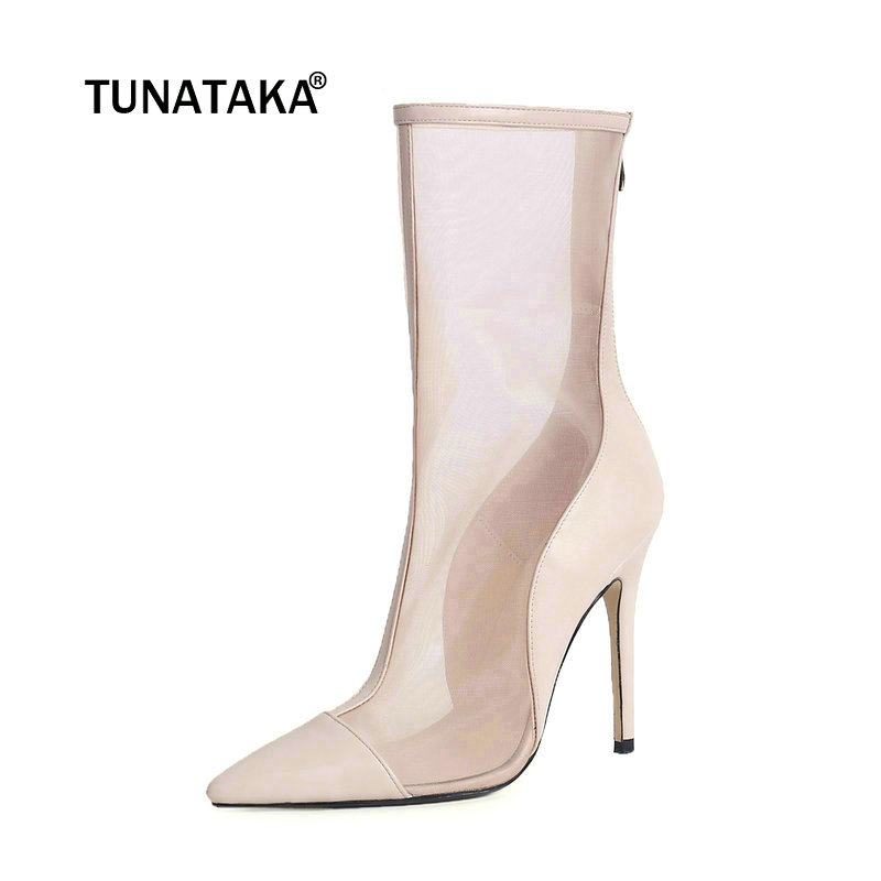 Sexy Thin High Heel Genuine Leather With Back Zip Mid Calf Boots Fashion Pointed Toe Spring Autumn Women Shoes Beige Black concise style black pu leather stiletto heels mid calf boots women trendy platform super high heel boots classic back zip shoes