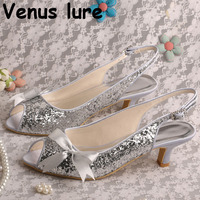 Slingback Bridesmaid Wedding Shoes Silver Glitter Peep Toe Prom Shoes Low Heel Bow Sandals