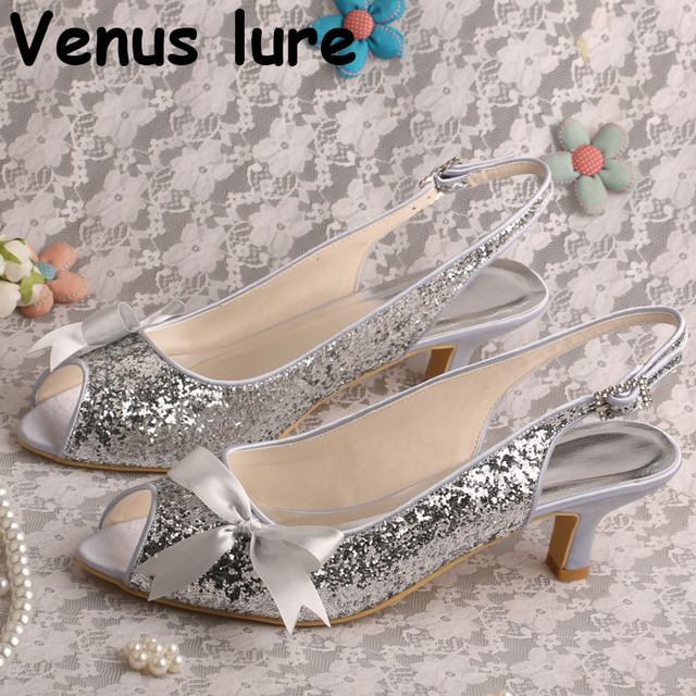290b0a796985 Slingback Bridesmaid Wedding Shoes Silver Glitter Peep Toe Prom Shoes Low  Heel Bow Sandals
