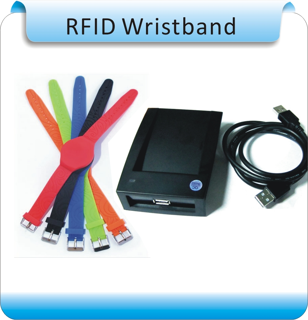 Free Shipping 10Pcs Super Waterproof  Silicone 125KHz  RFID Wristband With TK4100(compatible EM4100) +1 Reader