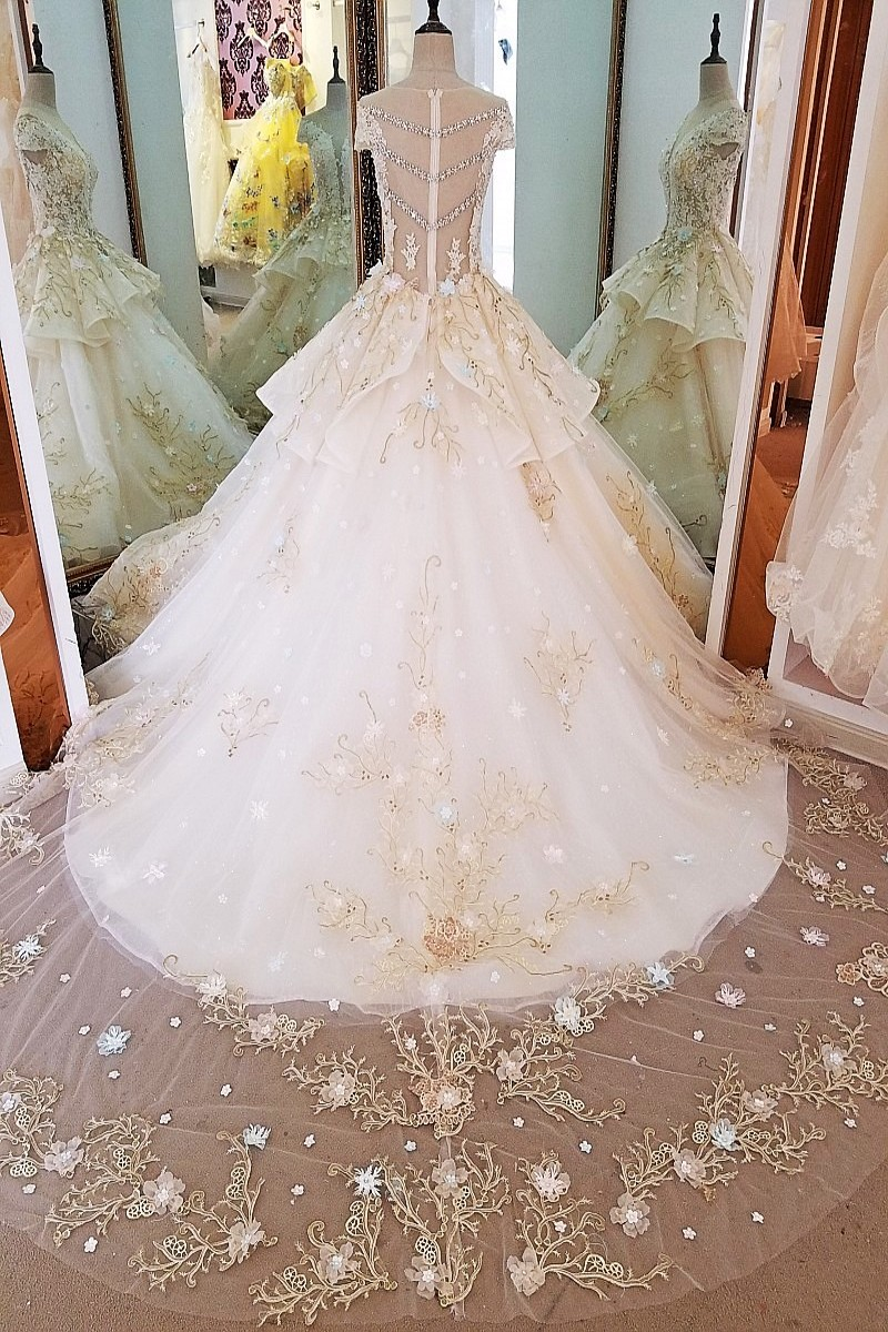 Vestidos De Noiva Bridal Gowns Vintage Gold Lace See Through Wedding ...