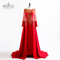 2017 New Red Long Sleeve Arabic Vintage Evening Dress With Detachable Skirt Sexy Gold Lace Beading