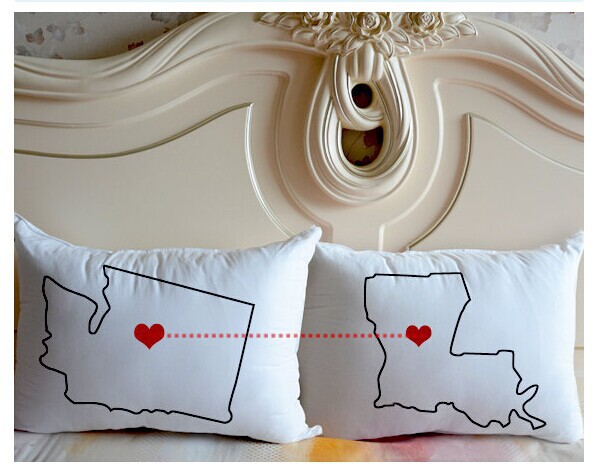 Wholesale Personalized couple pillowcase Custom state to state map pillow white bedding Cushion Cover Valentine gift idea 20*30