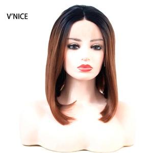 Perruque Bob Lace Front Wig 2 tons V'NICE   Perruque synthétique de remplacement capillaire, sans colle, marron ombré 1b/30, résistante à la chaleur, pour femmes