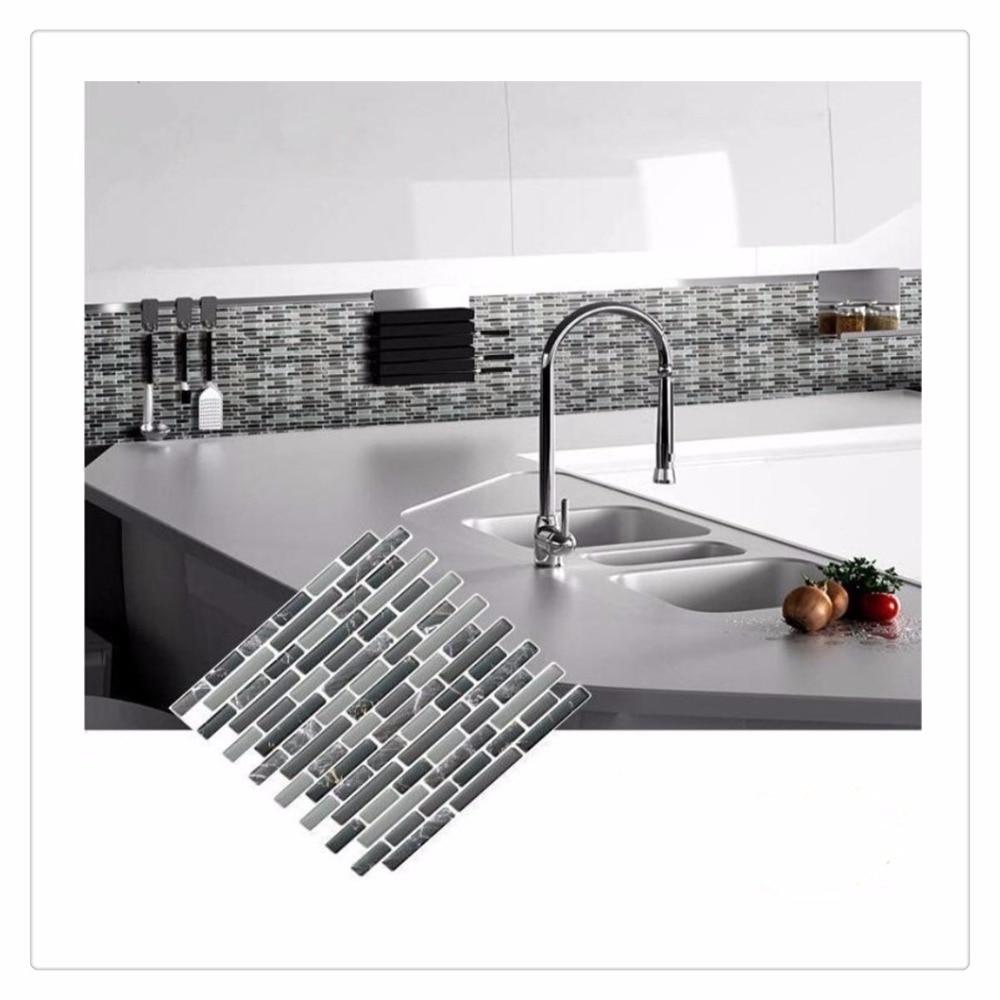 Self Adhesive Mosaic Tile Wall Decal Sticker DIY Kitchen Bathroom Home Decor Vinyl K In Wall