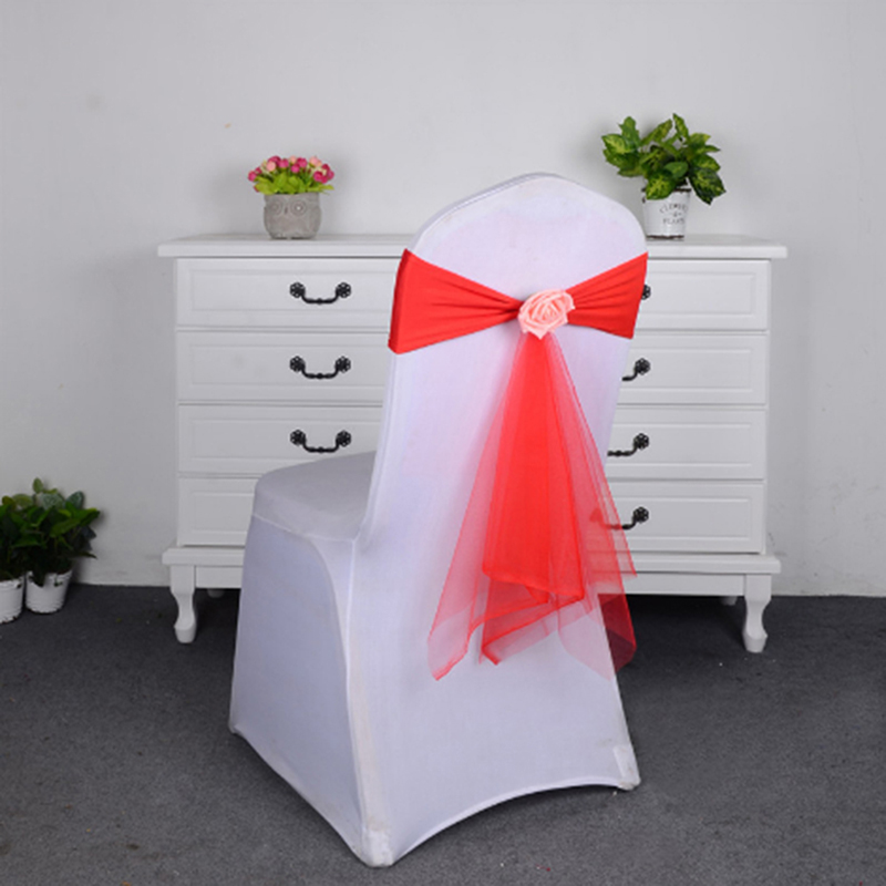5 Colors Spandex Sashes With Rose Ball Artifical Flower And Organza Chair Sash Wedding Lycra Bow Tie Band Decoration