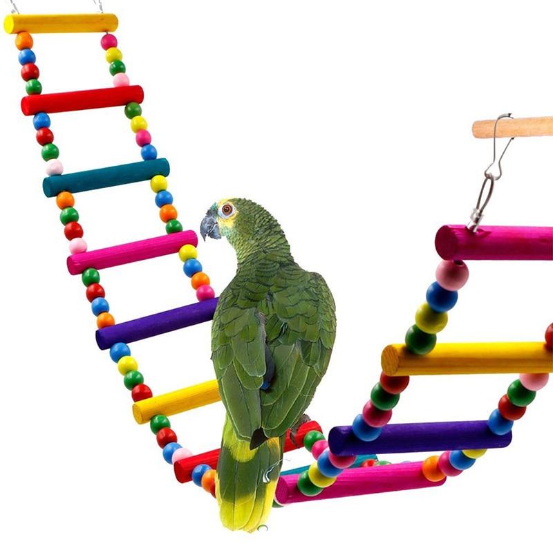1pc New Pet Toy  Birds Toys Popular 4sizes Cockatiel Birds Pet Accessories Cute Drawbridge Chromatic Wooden Birds Toys