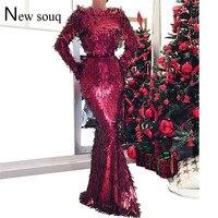 Slim Mermaid Evening Dresses Long Sleeve Sequin Celebrity Party Dress 2019 Robe De Soiree Aibye Muslim Arabic Kaftan Dubai Gowns