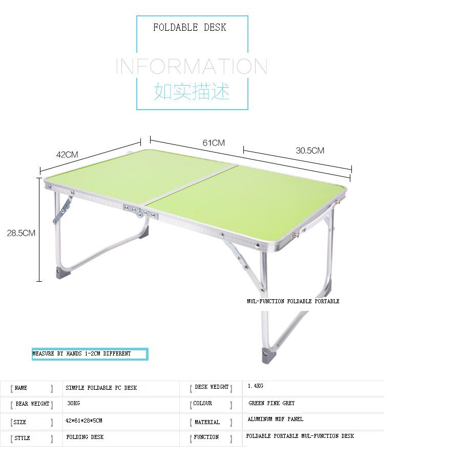 Multifunctional Light Foldable Table Dormitory Bed Notebook Small Desk Picnic Table