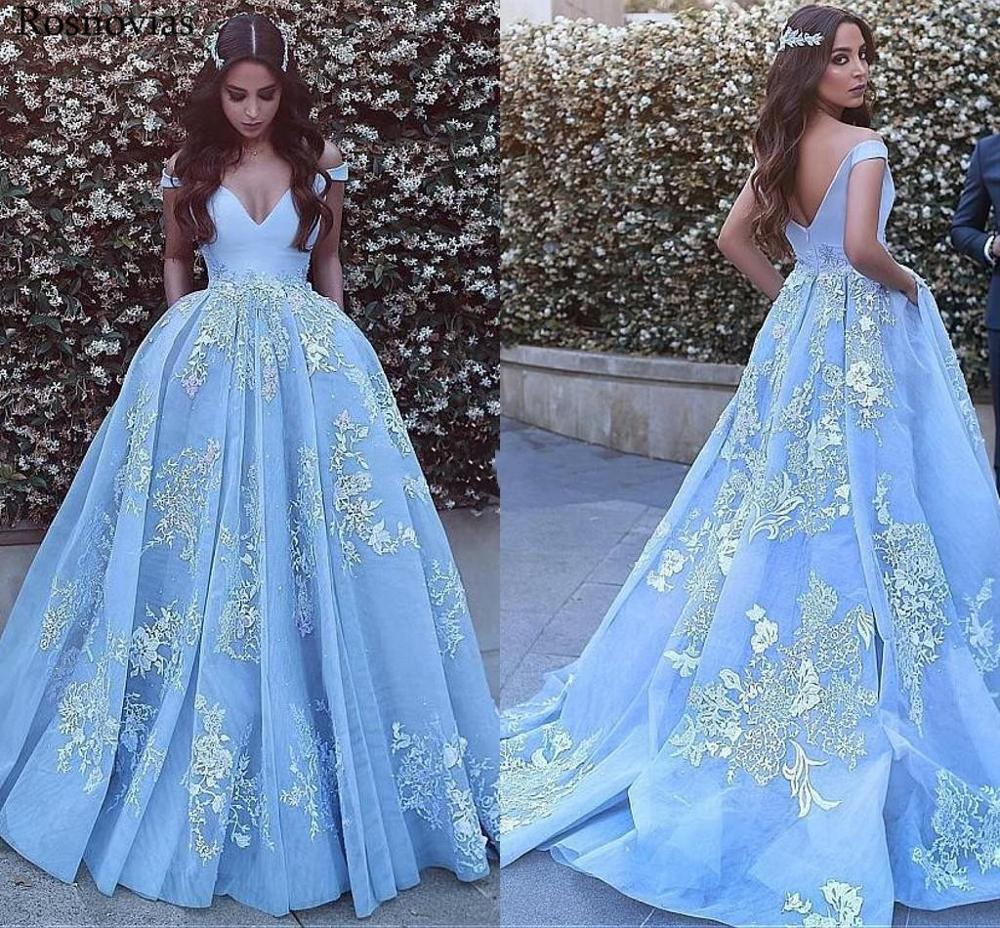 Robe de bal bleu clair Quinceanera robes 2019 hors épaule dos nu Appliques robes de bal pour doux 15 Vestido de 15 anos