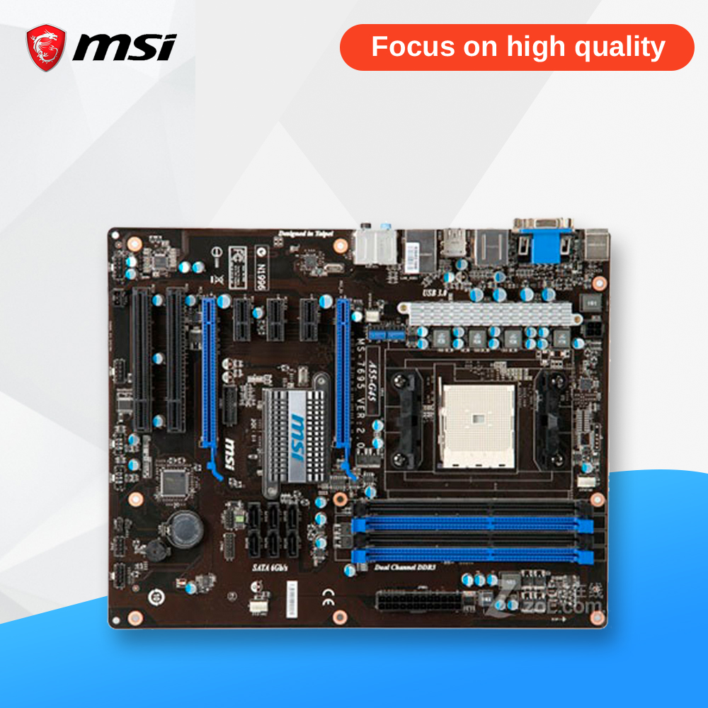 MSI A55-G45 Original Used Desktop Motherboard A55 Socket FM1 DDR3 SATA2 USB2.0 ATX msi p41 c31 original used desktop motherboard p41 socket lga 775 ddr3 4g sata2 usb2 0 atx