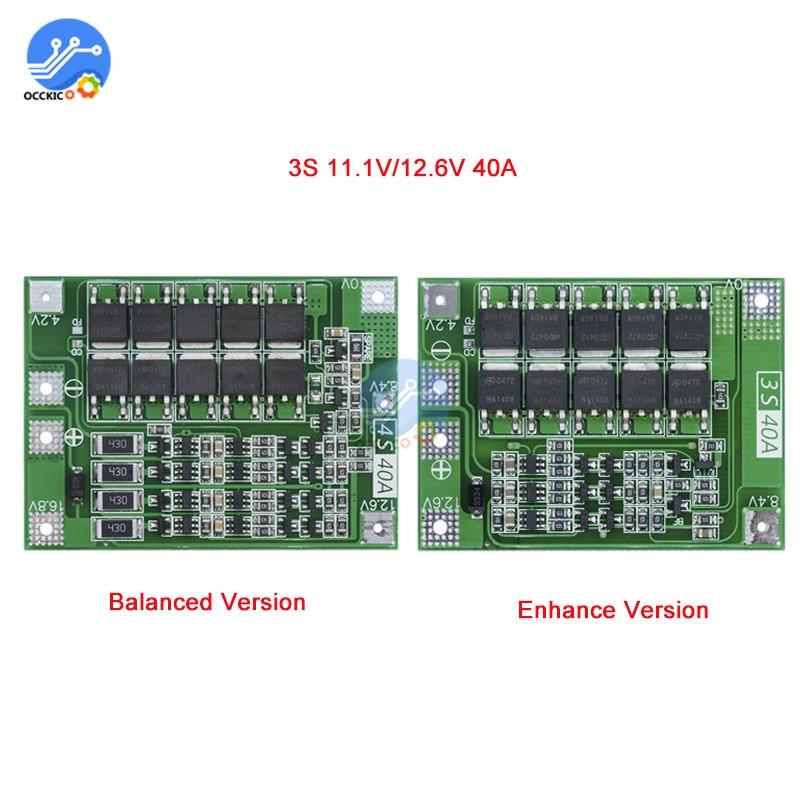 3 S 40A литиевая батарея BMS защиты доска усовершенствованные сбалансированный версии 18650 литий-ионный Батарея зарядное устройство плате 11,1 В 12...