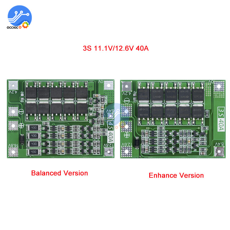 3S 40A BMS Lithium Battery Protection Board Enhanced Balance version 18650  Li-ion battery charger Circuit board 11 1V 12 6V
