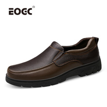 Genuine Leather Shoes Men Cow Leather Casual Shoes Outdoor High Quality Men Flats Slip On Plus Size Men Shoes tauntte four season genuine leather casual shoes cow leather men shoes plus size