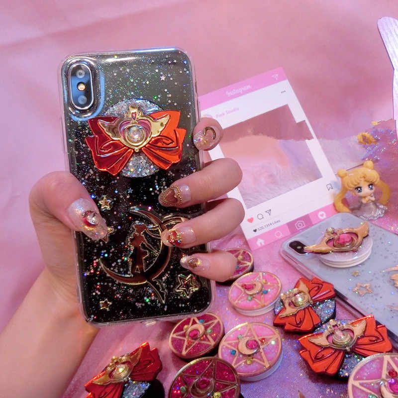 Anime Sailor Moon Heart Shape Phone Ring Sailor Cosplay Props Fans Girl Friend Gift Collection Gift Drop Ship