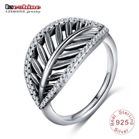 LZESHINE Authentic 925 Sterling Silver Leaf Shape Ring For Women Ancient Silver Engagement Jewelry PSRI0034 B
