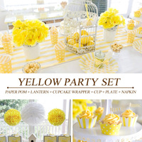 PGP Yellow Party Set Paper Pom Lantern Cupcake Wrapper Cup Plate Napkin For Baby Shower