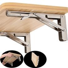 2PCS 10 Inch Length Triangle Folding Angle Bracket Adjustable Wall Mounted Durable Bearing Shelf Bracket DIY Home Table Bench