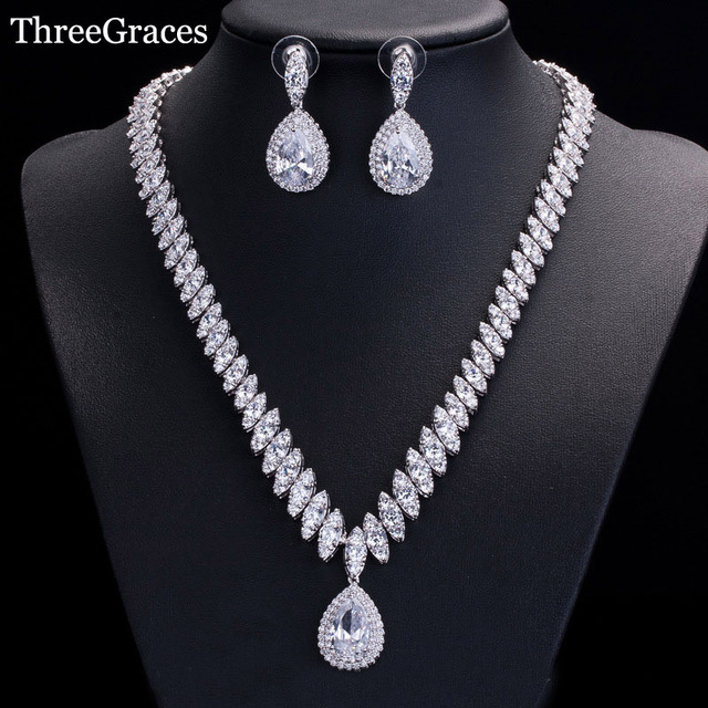 Threegraces Luxury White Gold Color Cubic Zirconia Bridal Necklace And Earrings Wedding Jewelry Sets For