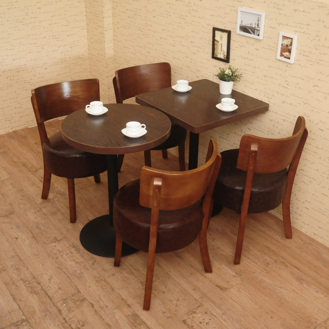 Merveilleux Dining Table Combination Coffee Shop Restaurant Dessert Tea Deck Sofa Solid  Wood Bar Tables And Chairs