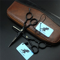 Freelander 5 5 Inch Black Professional Hairdressing Scissors Cutting Thining Set Titanium Salon Hot Shears Barber