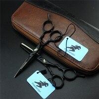 Freelander 5.5 inch Black Professional Hairdressing Scissors Cutting/Thining Set Titanium Salon Hot Shears Barber-Shop-Supplies
