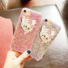 Case for iPhone X 8 5 SE 6 6S 7 7 Plus Luxury Diamond cute Hello Kitty Glitter Powder with 360 Ring Cover Phone Back Funda Coqu(China)