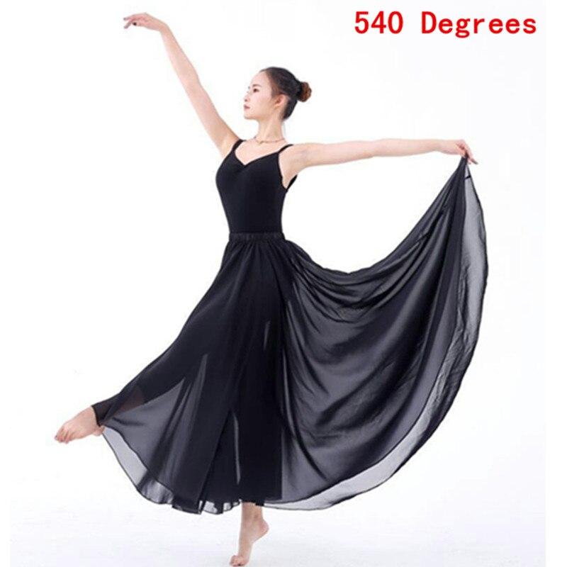 8dd2126bb1 Clásico contemporáneo trajes de danza femenina niñas Falda larga 540 grados  cintura elegante Ballet moderno práctica gasa falda