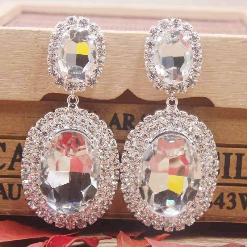 drop crystal earring with big glass stone gold/silver wedding Zerong Luxury jewelry large rhinestone dangling