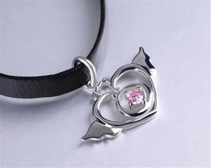 Anime Sailor Moon 20th rocznica serce skrzydło naszyjnik wisiorek naszyjnik ze srebra próby 925 Cosplay naszyjnik prezent na Boże Narodzenie