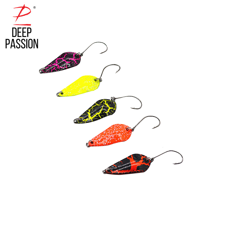 DEEP PASSION 5PC Trout Spoon Fishing Hard Lure Spinning Shine Metal Baits Pineapple Sequin Spoon Baits Flying Fishing Lure Kit