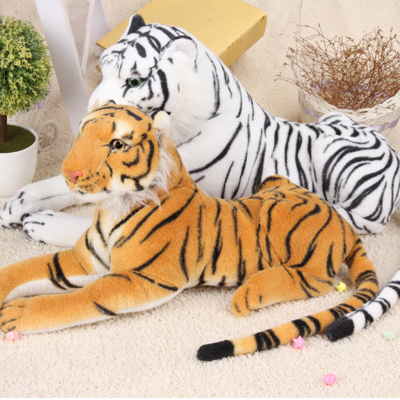 60-80cm Huge Prone Tiger Plush Toy Throw Pillow Cushion Simulation Animal Lifelike Vivid Real Tiger for Boy Large Tiger Doll huge plush tiger toy white simulaiton big tiger toy huge tiger doll about 130cm