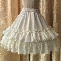 Mori Menina Estilo Japonês descida Lolita Palácio Linda rendas assentamento saia de Chiffon vestido de baile branco rosa cor preta Cestos
