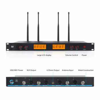 XTUGA A400 Metal Material 4-Channel UHF Wireless Microphone System with 4 Bodypack use for Stage Church Use for Family Party