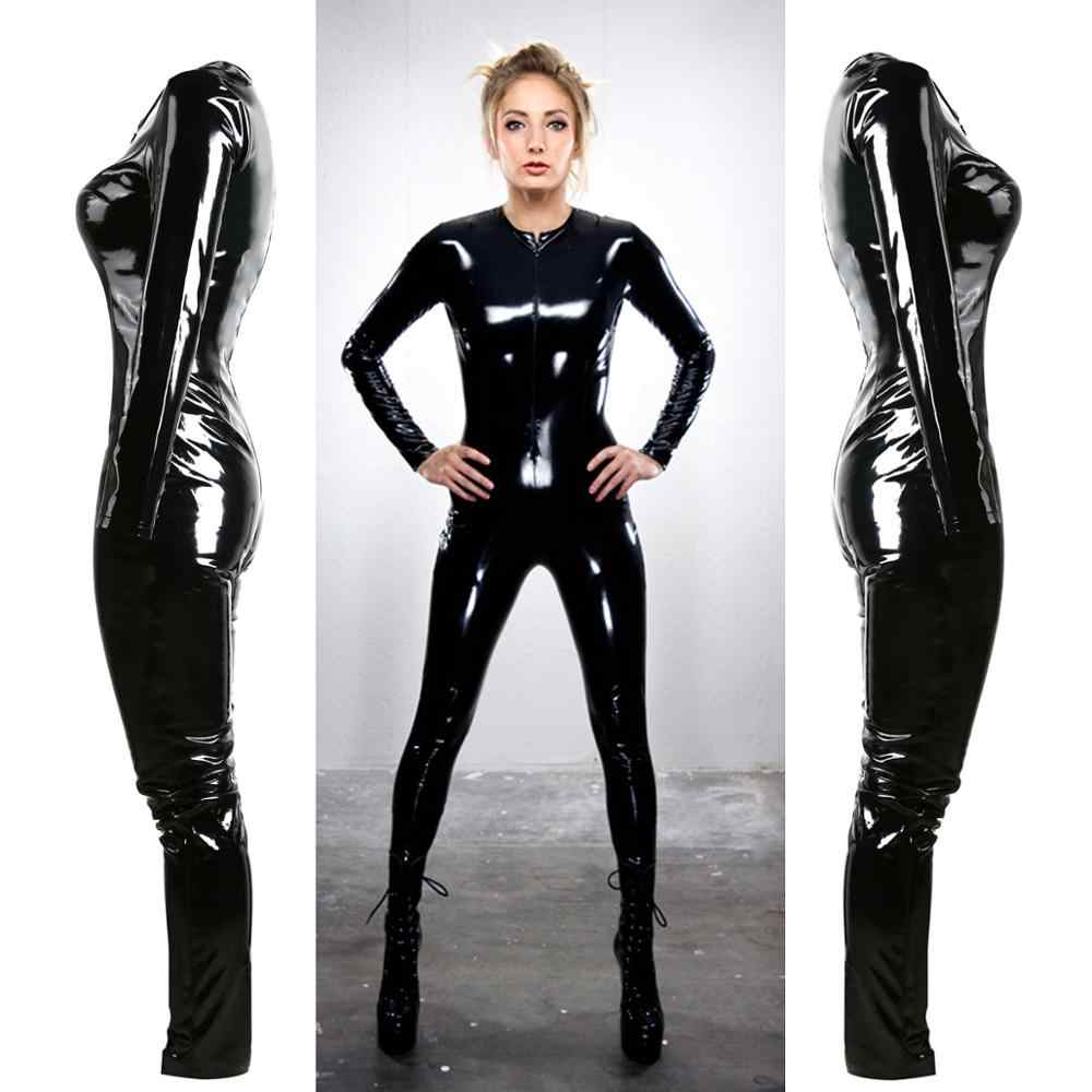 17f60ec55eb Gothic Sexy Black Bright PVC Faux Leather Catsuit Jumpsuits & Playsuits  Costume Club Wear S-