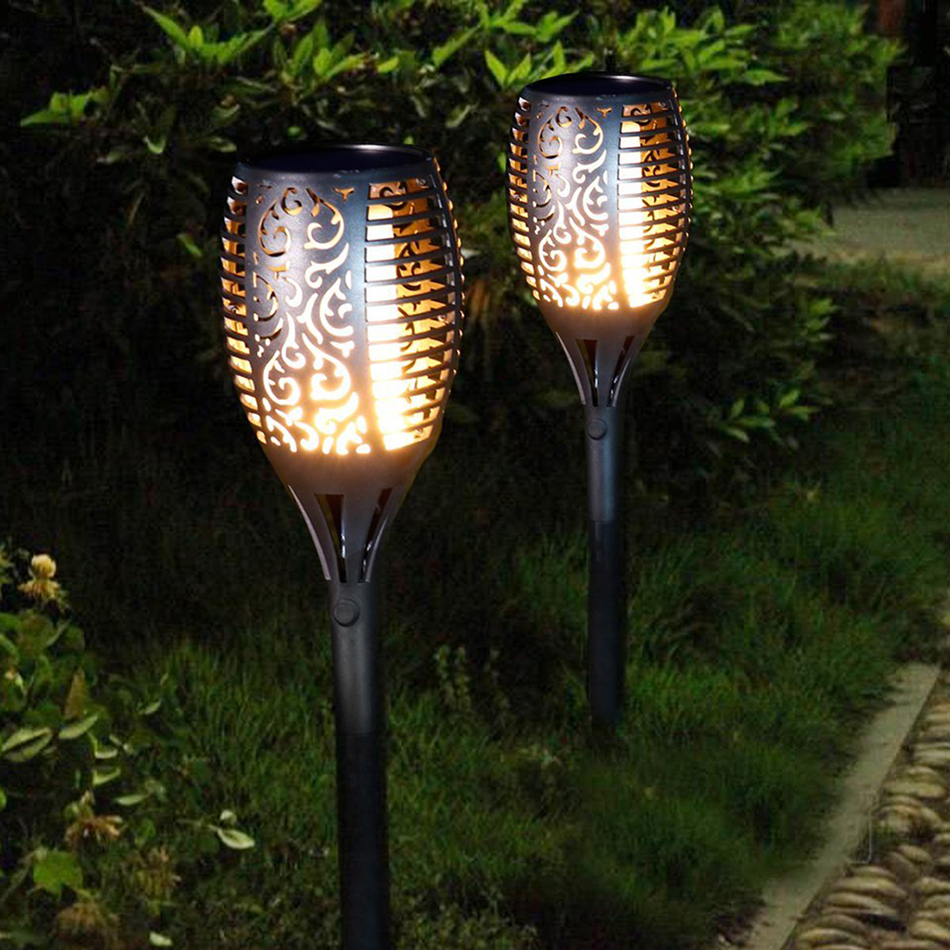 LED Solar powered LED Flame Lamp Waterproof Lawn Flame Flickering Torch Light Outdoor Solar LED Fire Lights Garden Decoration цена