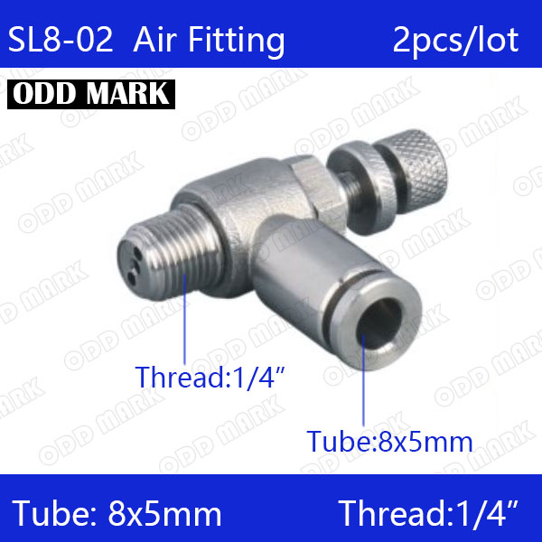 Free shipping 2pcs/lot 8mm to 1/4 SL8-02,304 Stainless Steel Speed Connector free shipping sl8 01 sl8 02 sl8 03 sl8 04pneumatic throttle valve quick push in air fitting connector 8mm tube flow controller